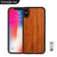 Boogic Wood TPU Hybrid Case For Apple Iphone X Hard Carved Pattern Retro Coque Protective Back