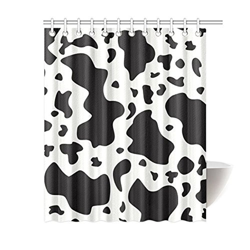 Memory Home Cow Cattle Print Black And White Pattern Waterproof Polyester Fabric Bathroom Shower Curtain