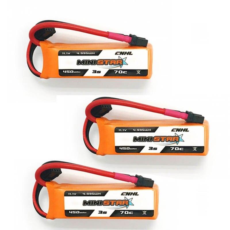 6PCS CNHL MiniStar 450mAh 11.1V 3S 70C Lipo Battery XT30U Plug For RC Drone FPV Racing Multi Rotor Spare RC Parts