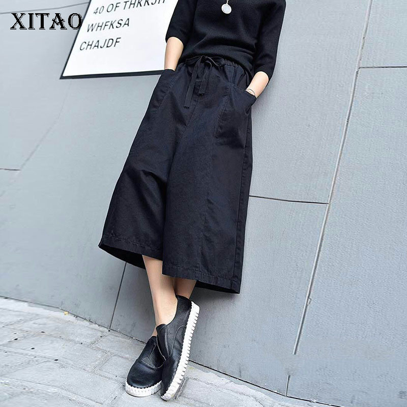 [XITAO] 2018 Winter Fashion New Women Loose Wlastic Waisted   Wide     Leg     Pants   Female Solid Color Casual Calf-length   Pants   DLL1137