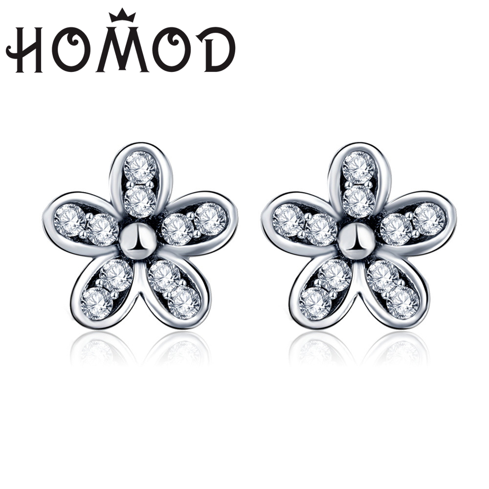 HOMOD 2019 Newest Silver Color Dazzling Daisy Brand Stud Earrings with Clear CZ for Women Wedding Jewelry