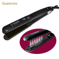 Queenme Steam Hair Straightener Argan Oil Vapor System Tourmaline Ceramic Hair Straightening Flat Iron Hair Care
