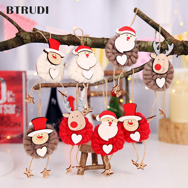 btrudi 3pcslot christmas decorations 8x17cm felt pendant old man snowman deer doll pendant window