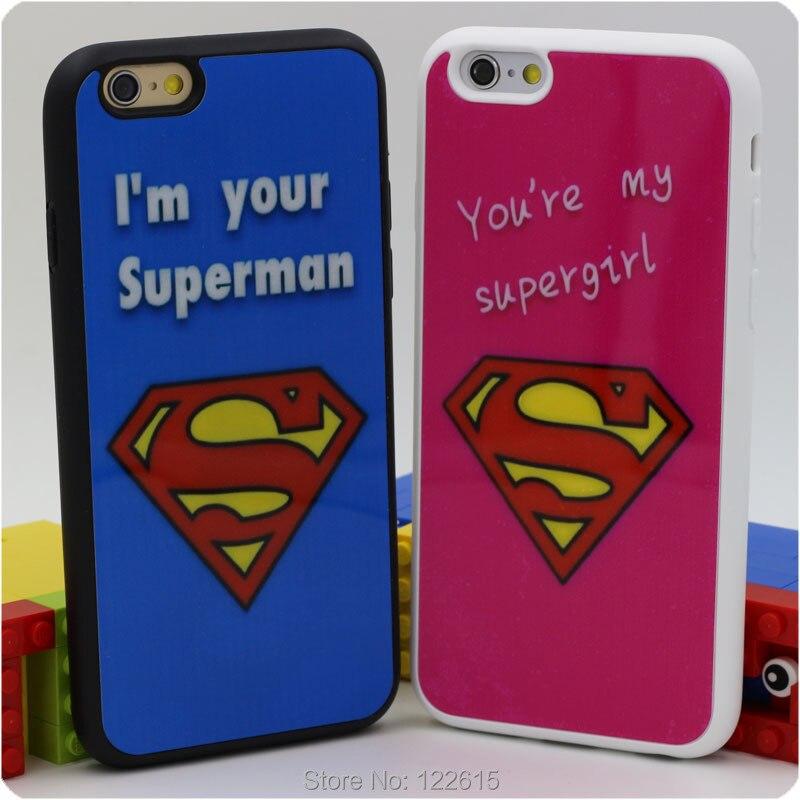 Para el iphone 6 más 6 5S 5 funda de silicona caja del marco de acrílico dura de la pintura cajas del teléfono superman supergirl pareja para los ...