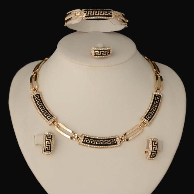 2016 CALIENTE dubai Chapado En Oro Llenó el Anillo Collar Pendiente Pulsera Joyería Partido de Las Mujeres Conjunto de Las Mujeres de La Boda Perlas Africanas Joyería Conjunto