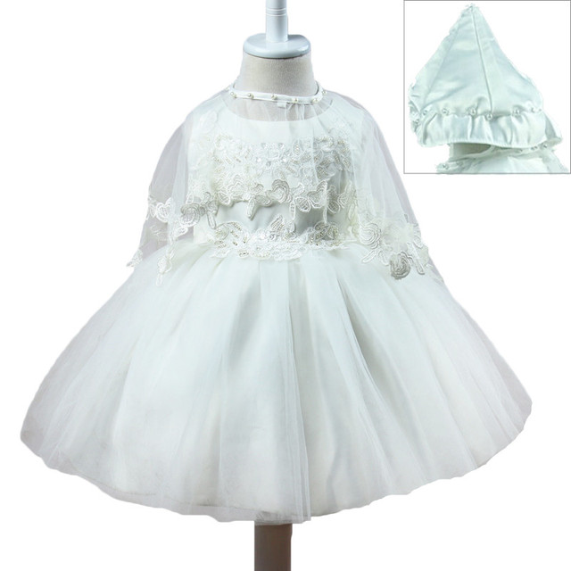 Summer Dress For Girl Sleeveless White Baptism Dresses Baby Girl 1 Year Birthday Wear Toddler Girl Lace Christening Ball Gown