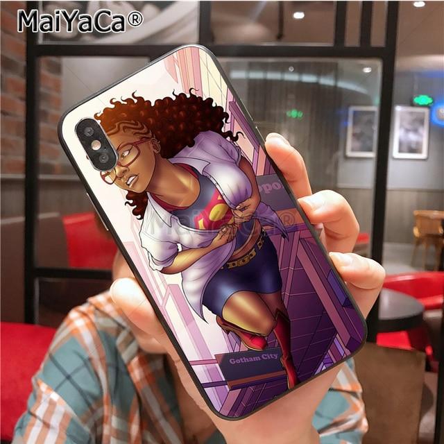 POINTE-NOIRE Femme noire de Bande Dessinée Coque Shell Cas de Téléphone pour Apple iPhone 8 7 6 6 s Plus X Xs Xr xs max 5 5S SE 5C Couverture 4