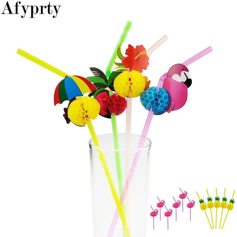 20pcs Disposable Flamingo Pineapple Plastic Straws Fun Colorful Cocktail Drinking Straw Hawaii Summer Beach Luau Party Supplies
