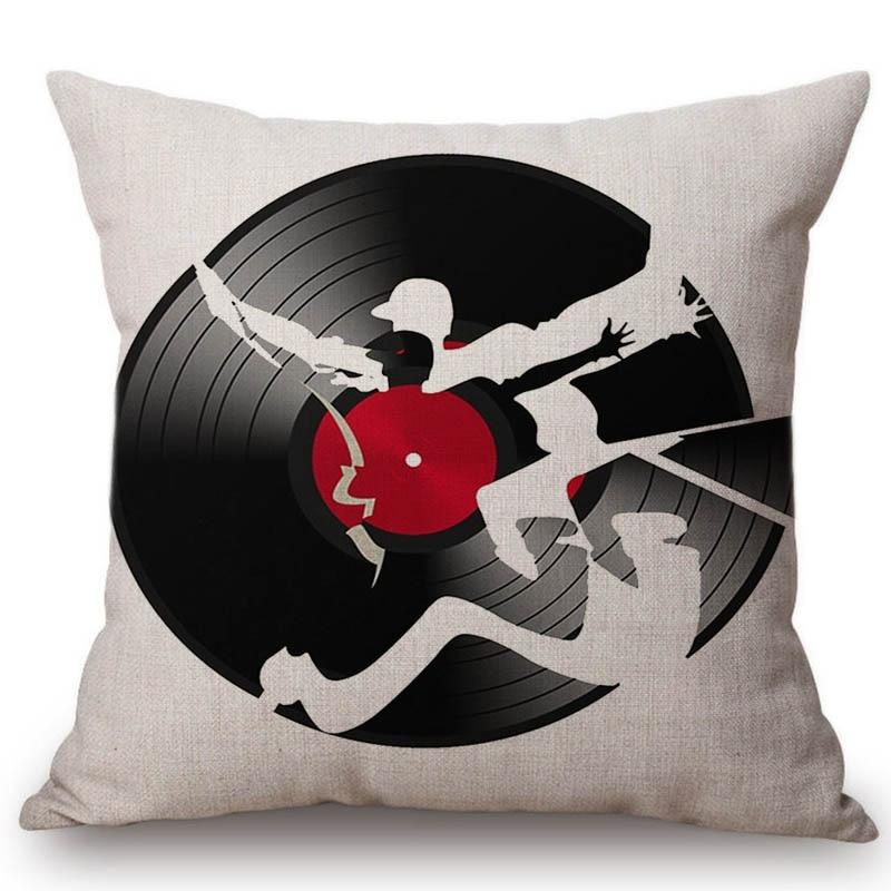 18 Акварель Music instructment Виолончель guita Bass LP диск Ресторан Декоративные Пледы Подушки Детские хлопок белье Чехлы для подушек
