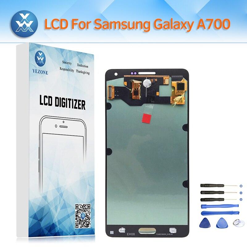 Super AMOLED LCD pour Samsung Galaxy A7 2015 SM-A700F A700M A700FD A700 LCD Affichage à L'écran Tactile Digitizer Assemblée Verre + outil