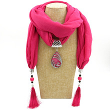 LaMaxPa 2018 Luxury Women Jewelry Pendants Water Droplets Cotton Scarf Long Tassel Wrap Soft Necklace Female Foulard Accessories