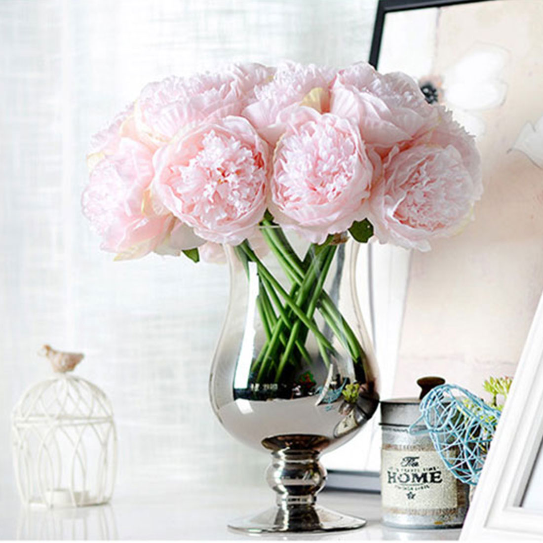 Artificial Flowers Peony Bouquet Silk Bridal Fall Fake For Wedding Home Decoration In Dried From
