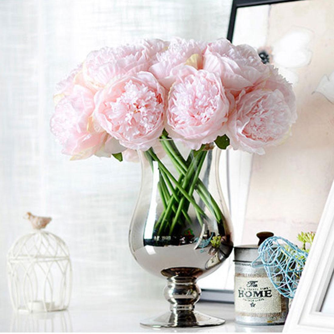 Artificial Peony Fake Silk Flowers Bridal Bouquet Flower Arrangement