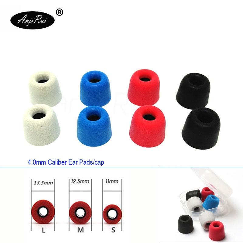 8 pcs/4 pair ANJIRUI T200 12.5mm 4.0mm Caliber Ear Pads/cap memory ear foam eartips for in ear Headphones tips Sponge Ear cotton