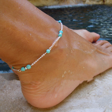 Fashion Handmade Silver Foot Chain Anklets for Women Bohemian Stone Beads Ankle Bracelets Accessories