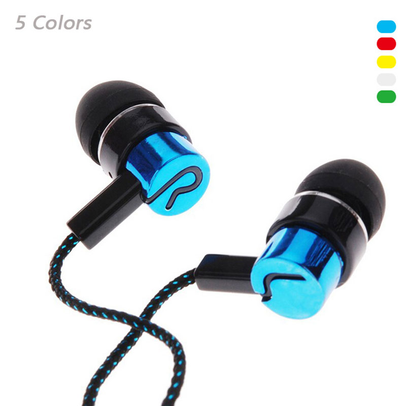 Earphone Noise Isolating Wired 3.5mm In-Ear Stereo Metal Headset Earbuds Universal For Phone iPhone Samsung Xiaomi Lenovo LG Mp3