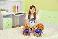 superman dress lovely light brown teddy dog plush toy birthday gift w5439