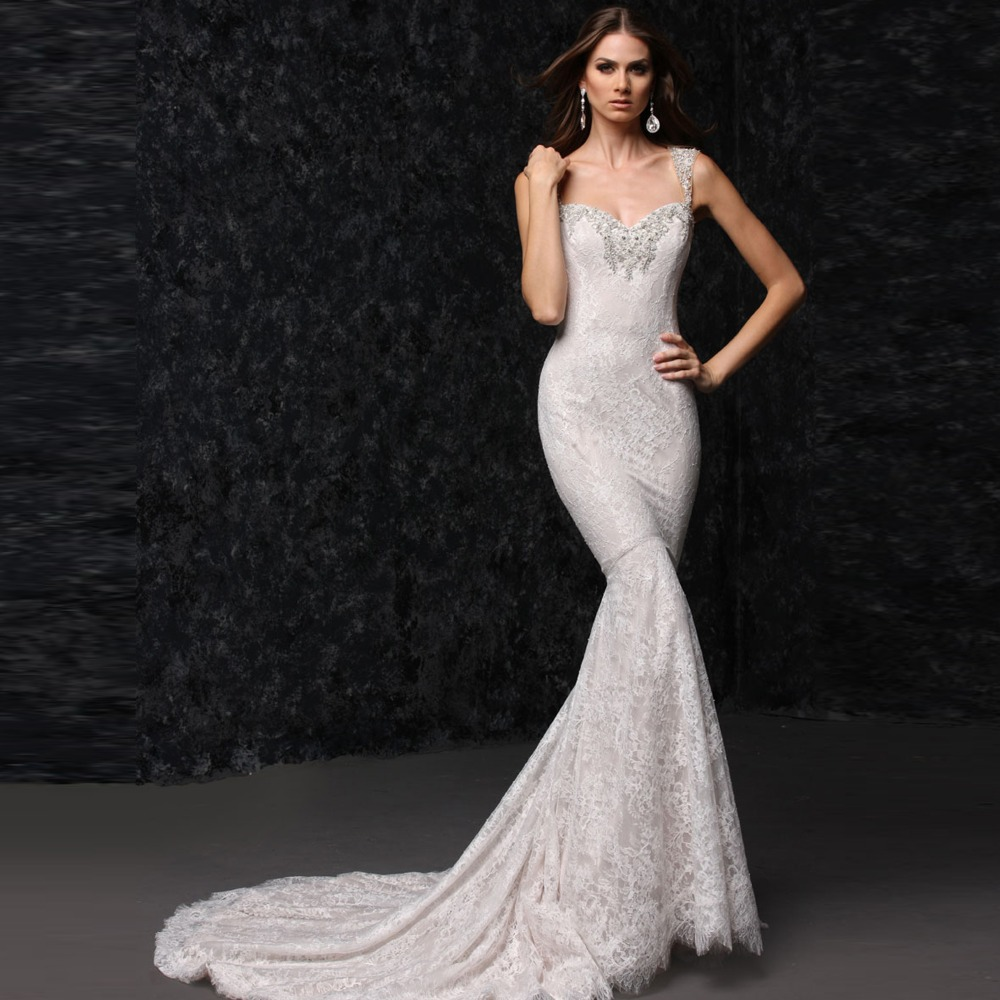 Sleeveless long tail fitted mermaid lace wedding dress in for Lace fitted wedding dress