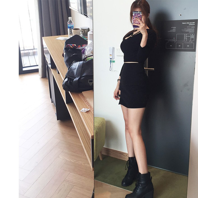 Korean women personality iron ring hip Empire dress irregular sexy black dress large size fashion Knee-Length Gothic A-Line 3