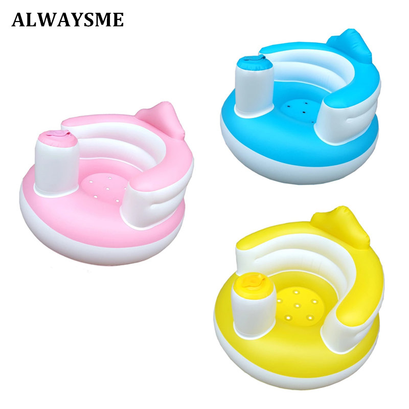 Alwaysme New Good Inflatable Baby Chair Portable Seats Sofa Infant Dining Lunch Chair Seat Feeding Chair Stretch Wrap Baby Sofa