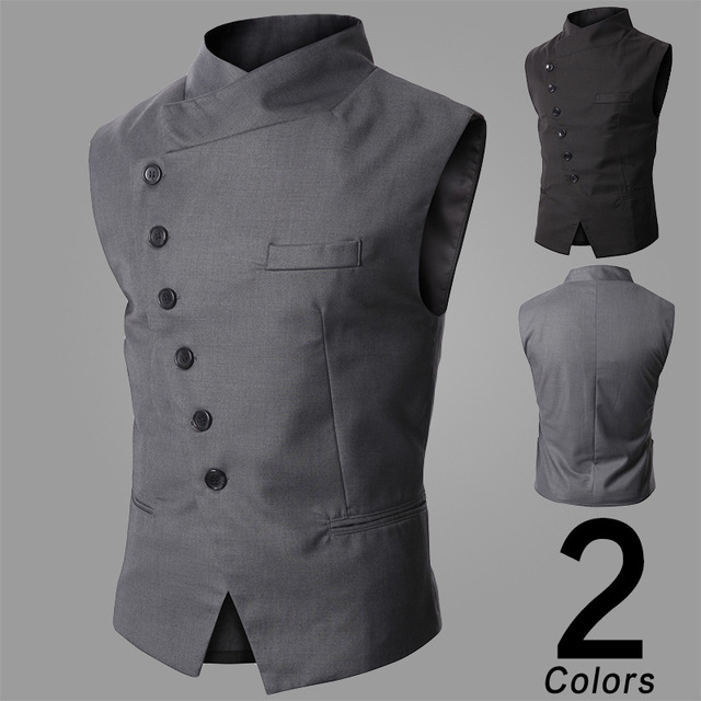 New Suit Vest Men Fashion High Quality Black Gray Formal Business Men Dress Vests Slim Fit Casual Sleeveless Jacket Men TVE003