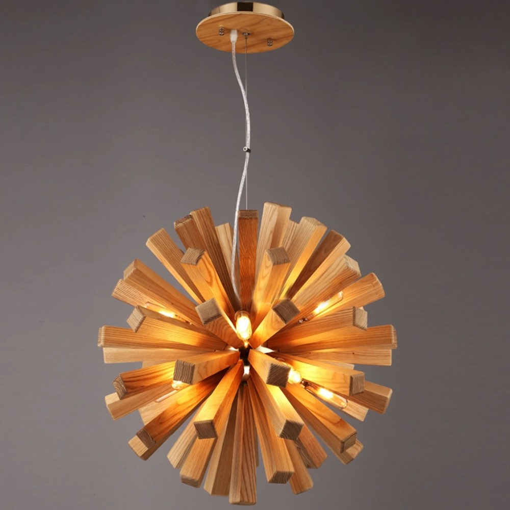 Brief nordic wood handcraft diy loft pendant light 10 for Diy pendant light