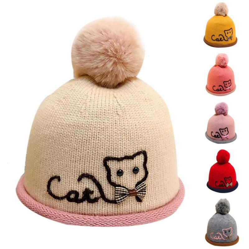 Infant baby knitted hat cap Cat pattern newborn Fleece Crochet Beanie Pompom hats Kids Warm hat chapeu de bebes Baby gift D15