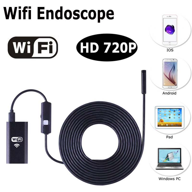 IOS Android Wifi Endoscope with 8mm Lens 6 LED 1m 3m 5m Cable Waterproof Iphone Endoscope Inspection Borescope Camera industrial endoscope wifi with android and ios 720p 6 led 8mm waterproof inspection borescope tube camera with 2m cable no usb