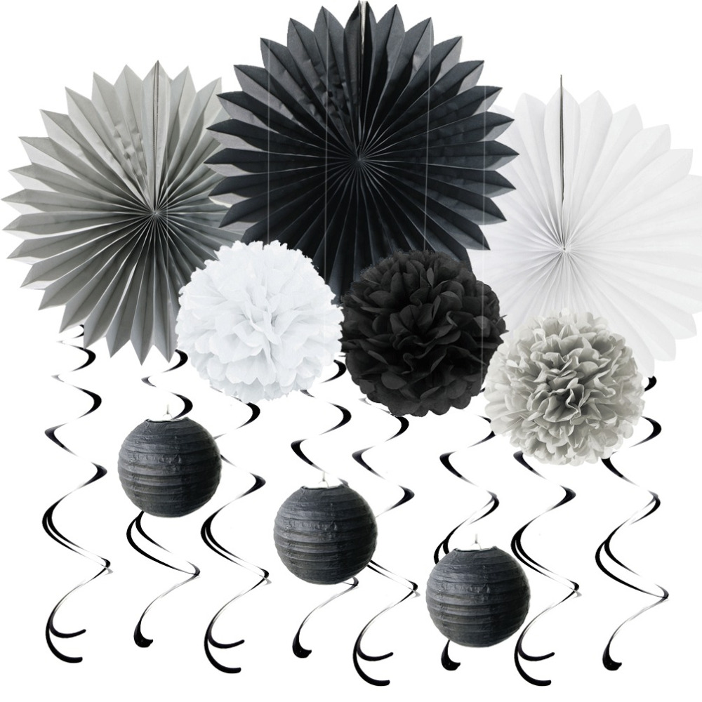 10pcs(Black Grey White) Paper Decoration Set Swirl...