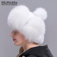 Ms.MinShu Fox Fur Hat Women's Genuine fox fur Trapper Hat with pom pom Russian Fur Hat Unisex Winter Earflap Natural Fox Fur Cap