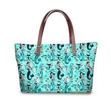615a7f60de18 ELVISWORDS Mysterious Mermaid Printing Tote Bags Online Bag Retro Womens  Shoulder Handbags With PU Wallets Luxury