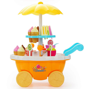 Baby Play House Game Toy with Light Music Mini Trolley Girls Candy Suppermarket Boat Icecream BBQ Cart  Kids Toddlers Toys ice cream cart toy