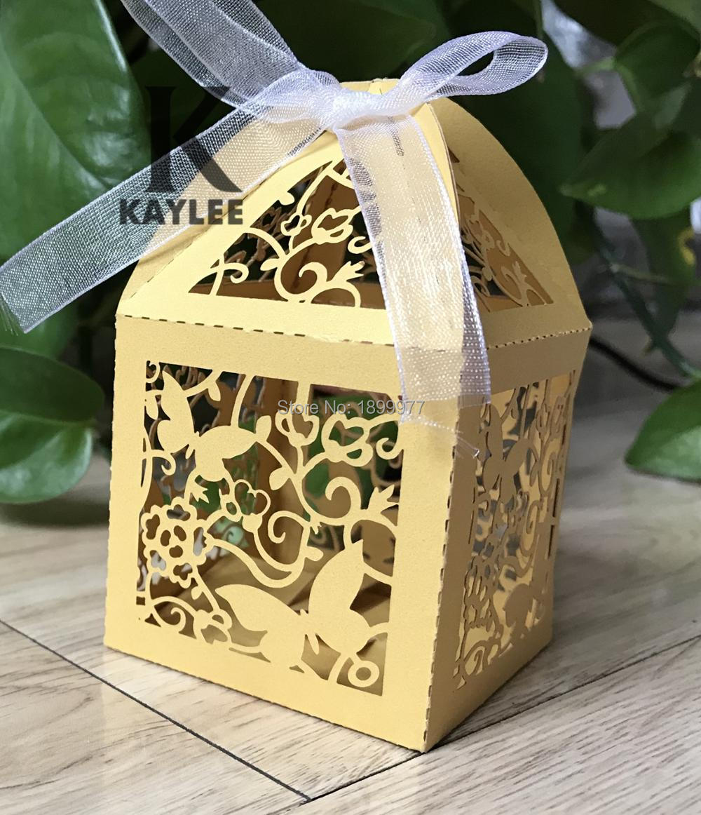 300pcs Laser Cut Butterfly Design Candy Box For Party Decoration