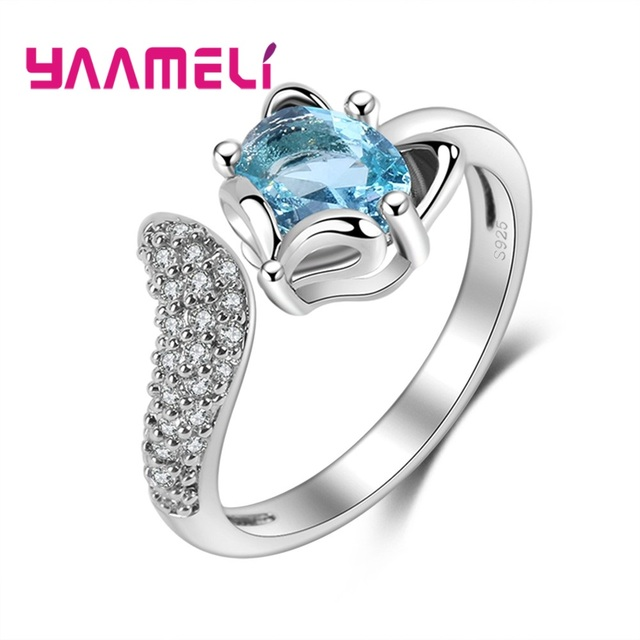 5465e085d68 US $1.68 80% OFF|YAAMELI Animal Design Fox Green Crystal Party Rings For  Women Girls Jewelry 925 Sterling Silver Opening Cubic Zirconia Ring-in ...