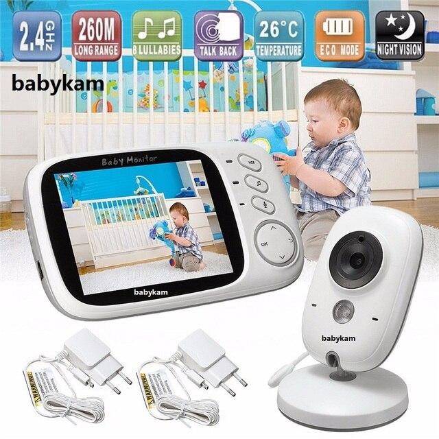 Babykam مراقبة الطفل VB603 مربية الفيديو 3.2 بوصة TFT LCD IR للرؤية الليلية 2 الطريق نقاش 8 التهويدات مراقبة درجة الحرارة راديو مربية