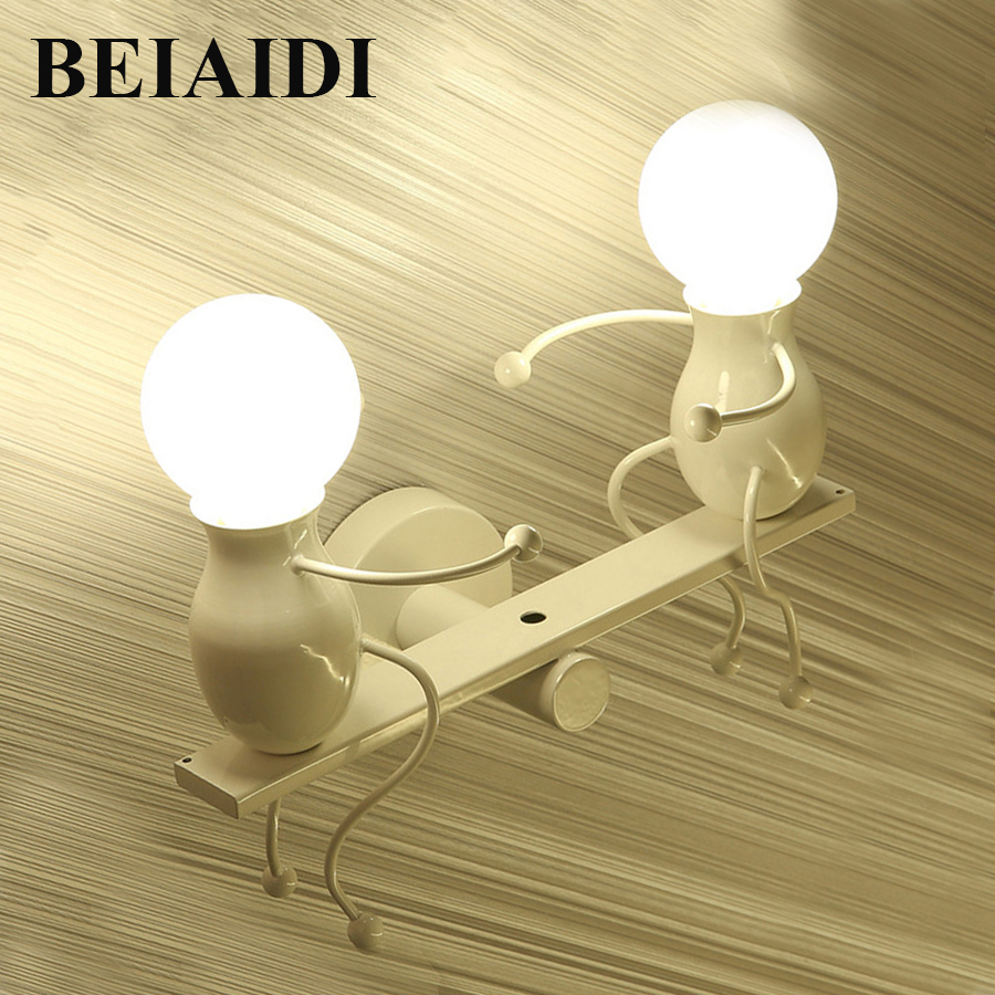 BEIAIDI Modern Cartoon Doll LED Wall Lamp Creative Seesaw Iron Sconce Wall Light for Kids Baby Bedroom Corridor Wall Light m sparkling td303 creative cartoon 3d led lamp page 11