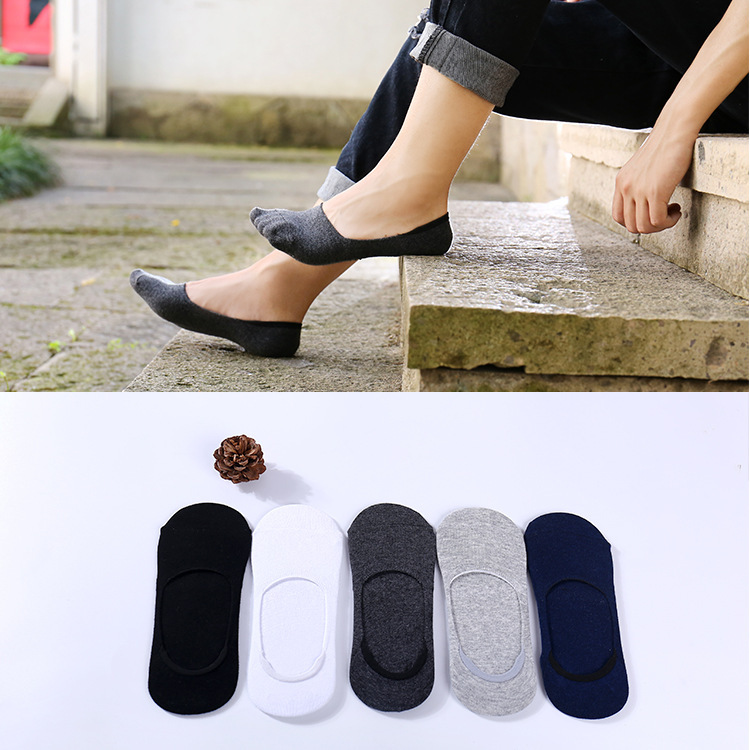 5pair / Lot Of Summer Men's Socks Fashion Men's Cotton Non-slip Socks Invisible Deodorant Sweat-absorbent Cool Short Socks