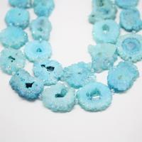 High Quality!Blue Druzy Geode Crystal Sunflower Shape Beads,Full Strand,30 35mm,Rough Drusy Quartz Slab Slice Beads for Pendant