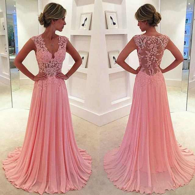 vestido de festa longo Formal Gowns Pink Appliques abiye robe de soiree Elegant Chiffon Long Formal Dress Custom Made