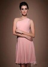 A-Line Mini One-Shoulder Pink Bridesmaid Dresses 2016 New Popular Wedding Party Dress
