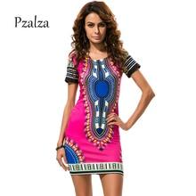 Pzalza Summer Short Sleeve Classic African Print Dashiki Dress Women Vintage Mini Bodycon Dress S-XXXL Plus Size Hippie Dresses