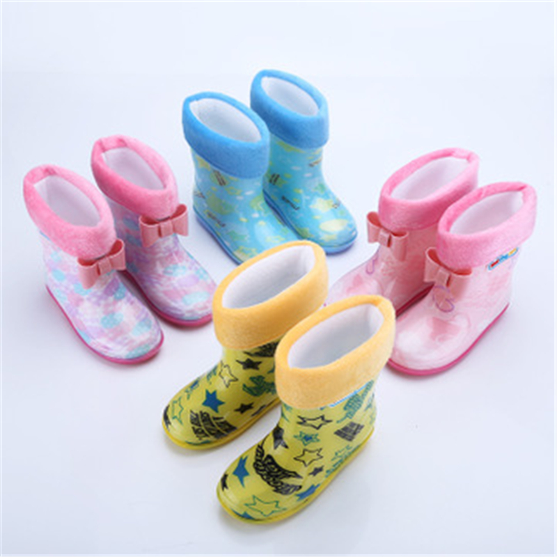New Arrival Children Rainboots PVC Soft Comfortable Waterproof Shoes Removable Liner Snow Boots Boys Girls Baby Shoes 03K