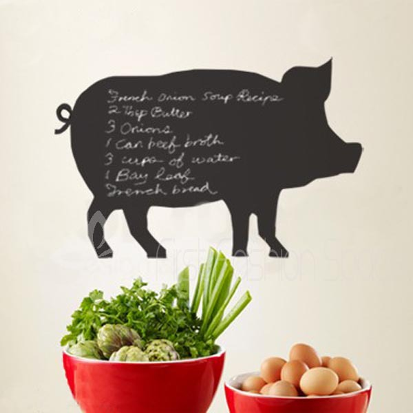 Vinyl Chalkboard Menu Planner Pig Animal Blackboard Decal Kitchen Decor Large Size 86x56cm Free Shipping