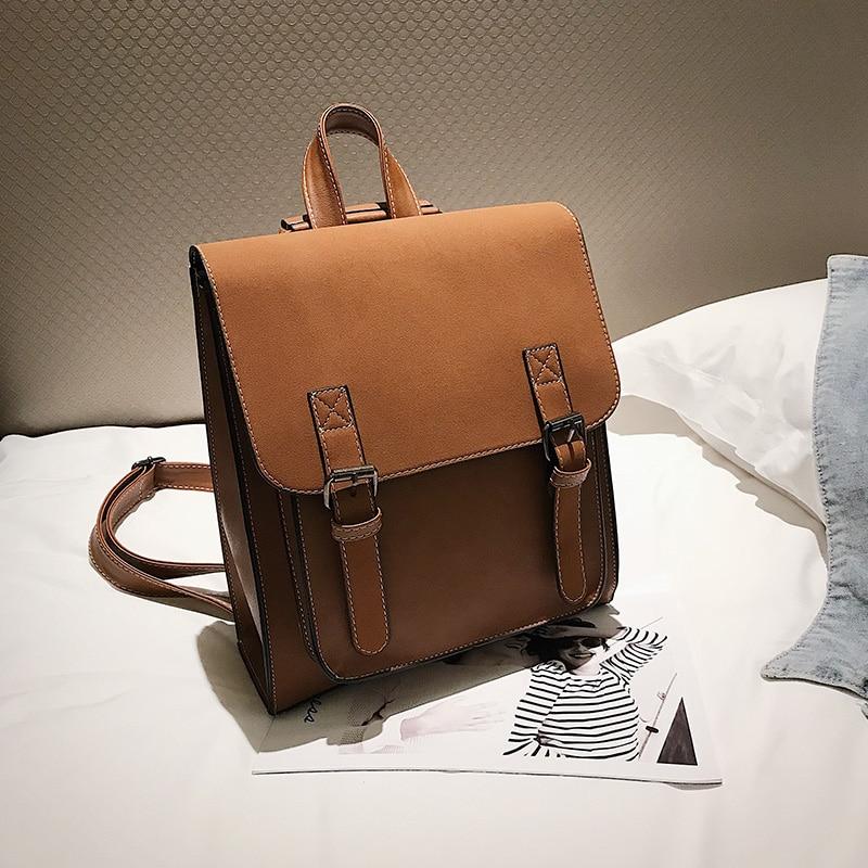 HTB1EGJtXOHrK1Rjy0Flq6AsaFXaf Fashion 2 PCS/SET Leather Women Backpacks for Teenagers female Back Pack Large Capacity Pu Travelling Bags Vintage school bag