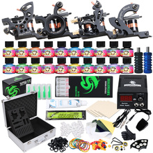 Top Beginner Complete Tattoo kit USA Color Ink 4 Machine Guns Power supply Needle Grip Tip in Box D3020 цена