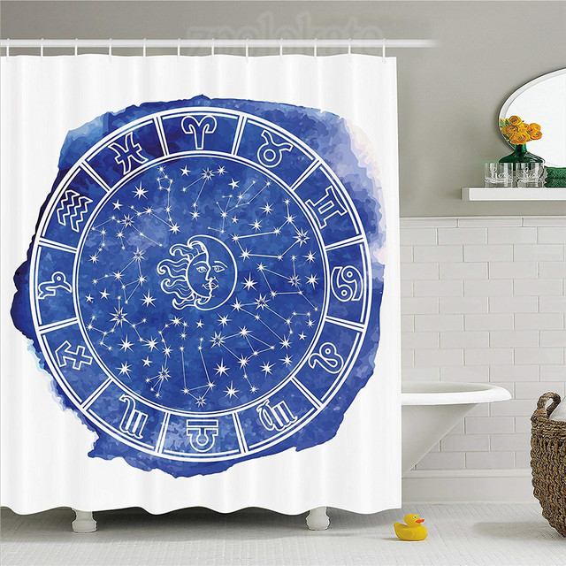 Sun And Moon Shower Curtain Zodiac Circle Watercolor Backdrop Astrology Divination Fantasy Mystic Fabric Bathroom Decor Set Wi