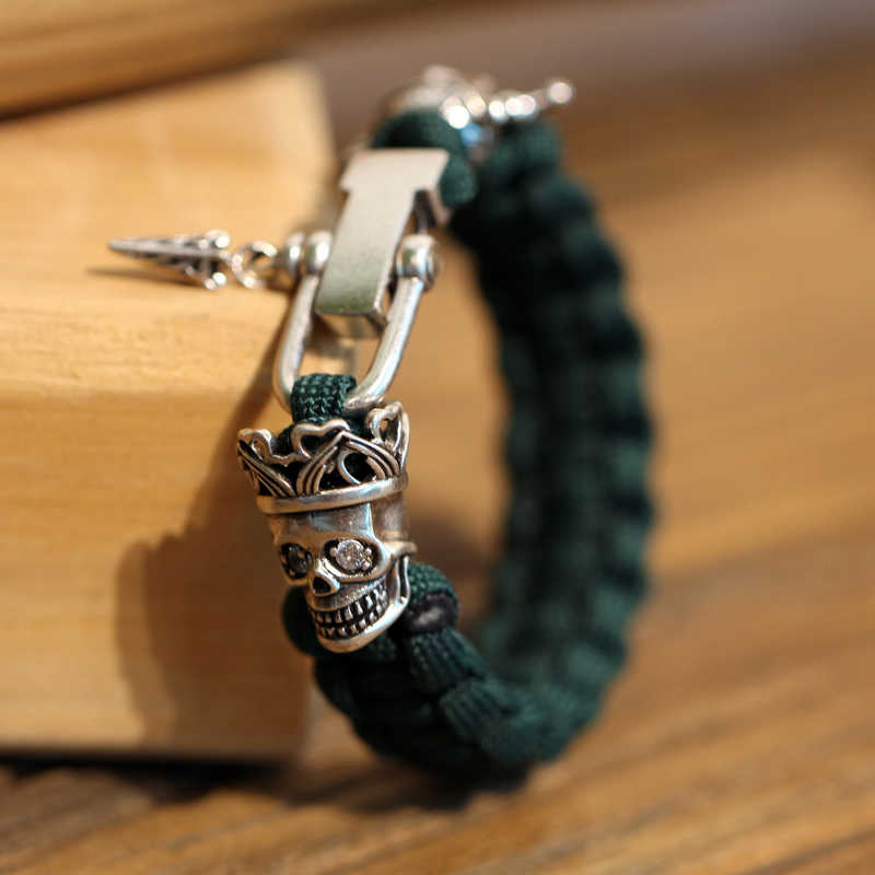Mcllroy Punk bangle Nylon Umbrella rope Classical green Viking Skull Copper button Crown Men bracelet Fashion bracelets Pulsera