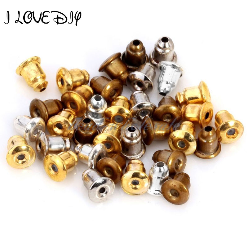 Beads & Jewelry Making Amiable 100pcs 6x5mm Metal Gold Silver Color Earring Backs Stoppers Bullet Shape Bronze Earring Accessories For Making Earrings Findings