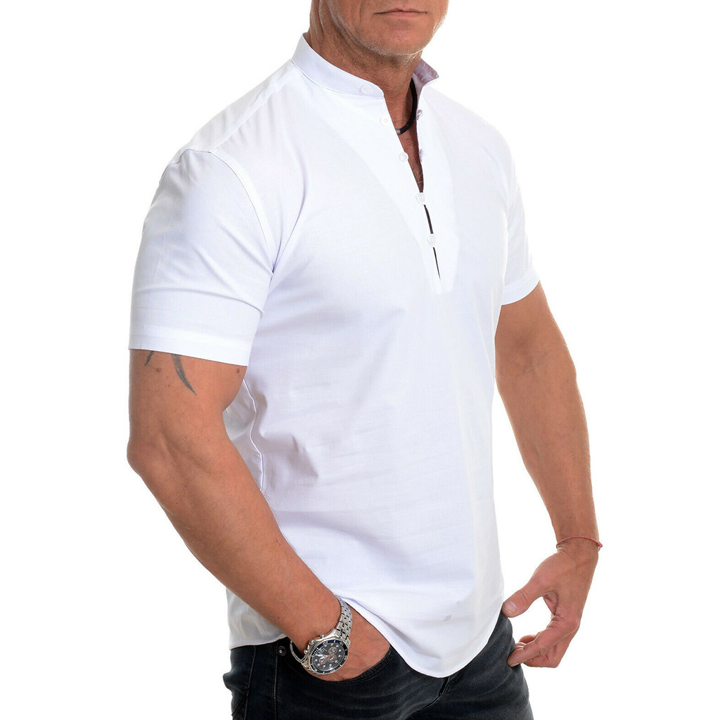 Shirt Summer Blouse Pullover Short-Sleeve Stand-Collar Slim-Fit Fashion Men Casual Solid