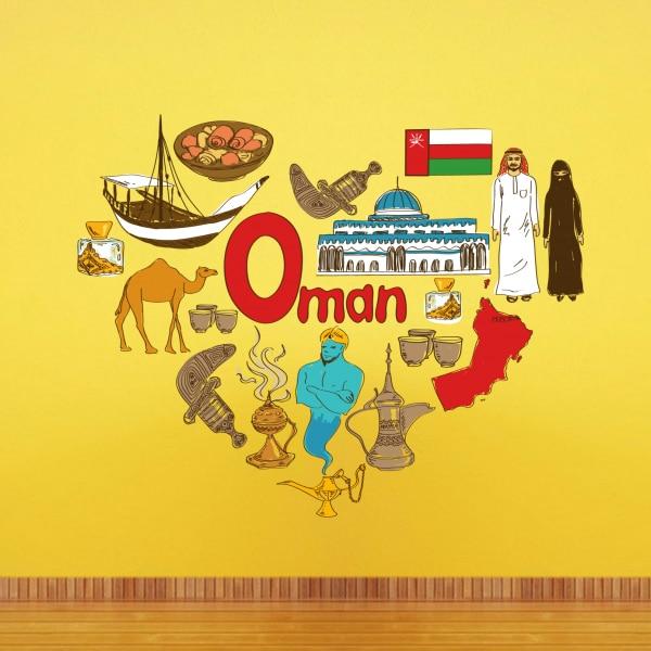 Omán illusztráció Utazás a szó Landmark falmatrica esküvői - Lakberendezés